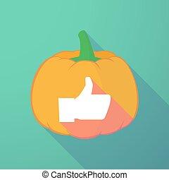 long shadow halloween pumpkin with a thumb up hand