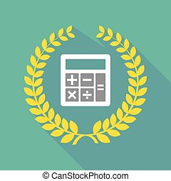long shadow laurel wreath icon with  a calculator