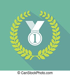 long shadow laurel wreath icon with  a medal