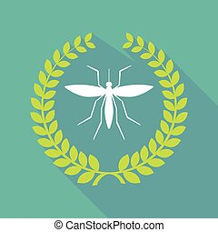 long shadow laurel wreath icon with  a mosquito