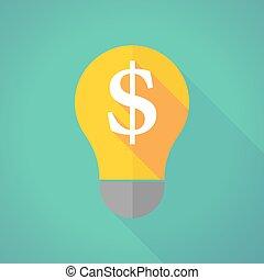 long shadow light bulb with a dollar sign