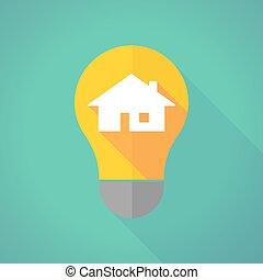 long shadow light bulb with a house