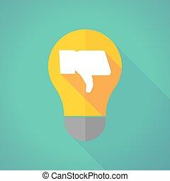 long shadow light bulb with a thumb down hand