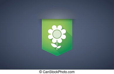 long shadow ribbon icon with a flower