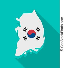 South Korea map with the national flag