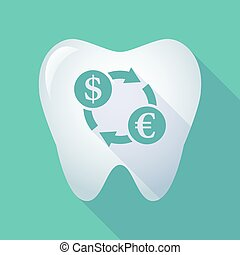 long shadow tooth icon with a dollar euro exchange sign