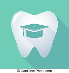 Illustration of a long shadow tooth icon with a graduation cap