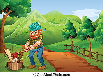 Illustration of a lumberjack chopping the woods at the pathway going to the farm
