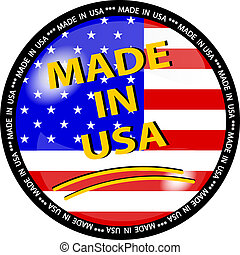 made in usa button - illustration of a made in usa button