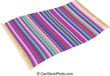 Illustration of a Magic Rag Rug (flying carpet). Isolated vector on white background.