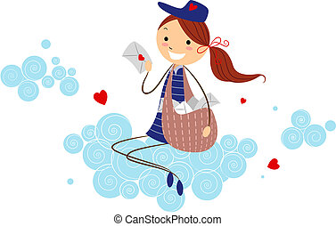 Mailwoman - Illustration of a Mailwoman Holding a Love...