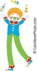 Clown Juggler - Illustration of a Male Clown Juggler
