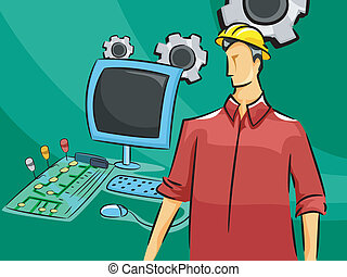 Computer Engineer - Illustration of a Male Computer Engineer...