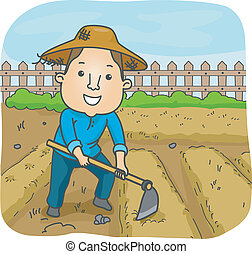 Male Farmer - Illustration of a Male Farmer Using a Hoe to...