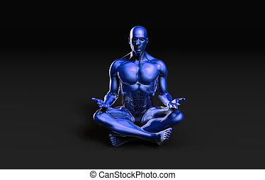 Illustration of a Male Figure Meditating