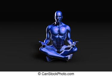 Illustration of a Male Figure Meditating