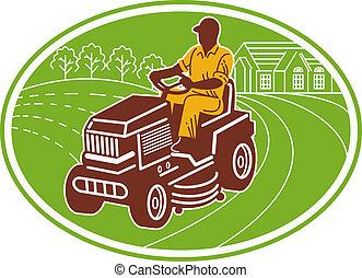 male gardener riding lawn mower set inside an oval. -...