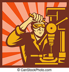 illustration of a Male trade worker operating a bench drill with sunburst in back set inside a square shape.