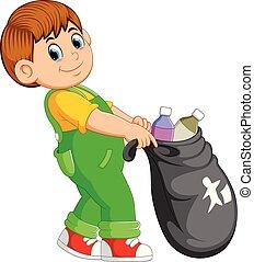 A man carry trash bag
