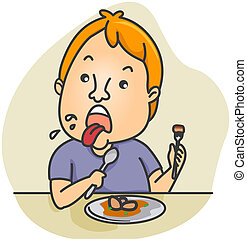 Disgust - Illustration of a Man Disgusted by the Food He Ate