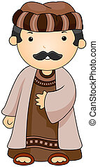 Illustration of a Man Dressed in an Arab Costume