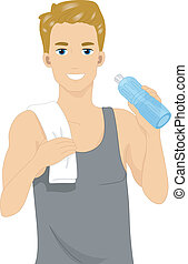 Bottled Water - Illustration of a Man Drinking Bottled Water