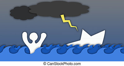illustration of a man drowning