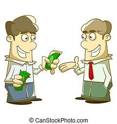 illustration of a man give and take Allowance
