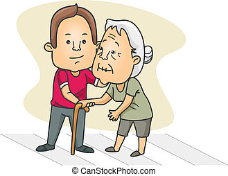 Illustration of a Man Helping an Old Lady Cross the Street