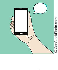 Illustration of a man holding phone