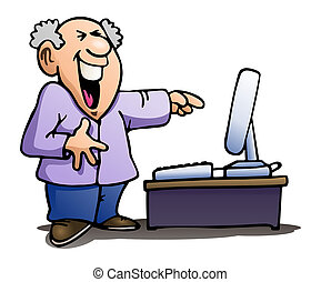 laughing at computer on isolated white - illustration of a...