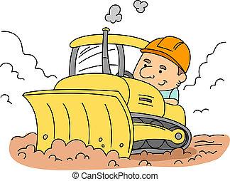 Bulldozer - Illustration of a Man Operating a Bulldozer