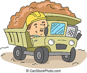 Land Mover - Illustration of a Man Operating a Land Mover