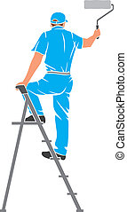 illustration of a man painting the wall (painter painting with ladder, silhouette of a painter, painting services design)