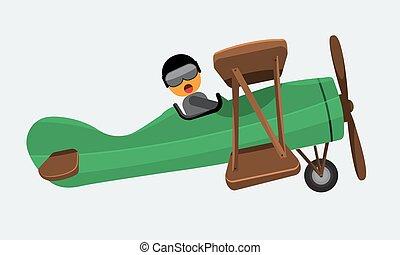 Illustration of a man pilot riding on a vintage plane. Flat color
