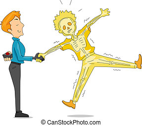 Illustration of a Man Pulling an Electric Handshake Prank