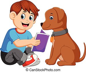 A man reading book with his dog