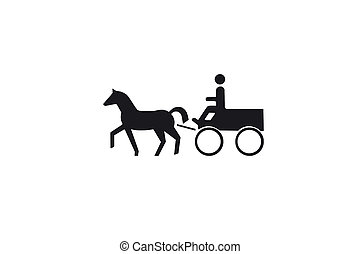 illustration of a man riding a cart with a horse.