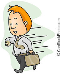 Illustration of a Man Running Late for Work