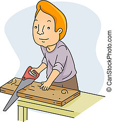 Illustration of a Man Sawing Wood