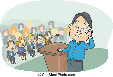 Illustration of a Man Showing Signs of Stage Fright Imagining People laughing at Him