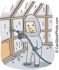 Foam Insulation - Illustration of a Man Spraying Foam ...