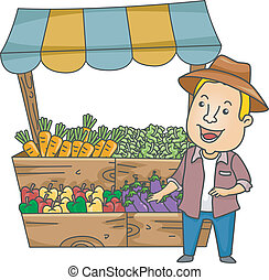 Vegetable Stand - Illustration of a Man Standing Beside a...