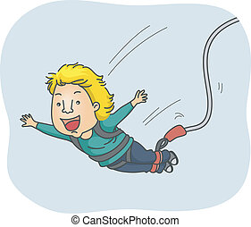 Bungee Jump - Illustration of a Man Strapped in a Harness...