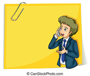 Illustration of a man talking with a cellphone standing in front of the empty signage on a white background