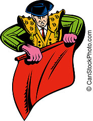 Matador or bullfighter with red cape
