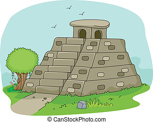 Mayan Pyramid - Illustration of a Mayan Pyramid