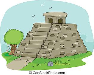 Mayan Pyramid - Illustration of a Mayan Pyramid