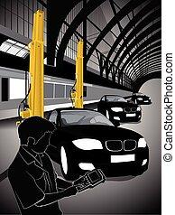 Illustration of a mechanic technician car automobile repair at garage