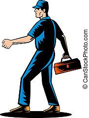 Mechanic tradesman extending hand